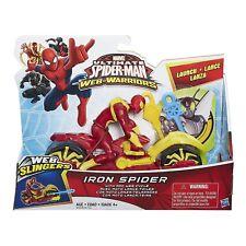 SPIDERMAN Web Warriors - Iron Spider con Moto Lancia Ragnatele - Hasbro b2660