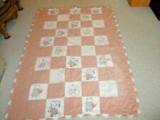 """Older 48"""" x 68"""" Emboidery Baby Quilt-Patchwork Hand Quilted-VariousAnimal Blocks"""
