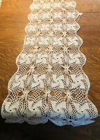 "Vintace 54"" Crochet Lace Table Runner with (8) 11"" Doilies Pinwheel Pattern"