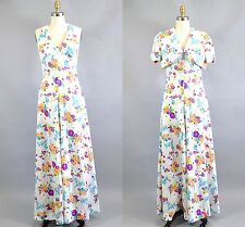 Vintage 1970s White Floral Halter Dress Maxi Bolero Shrug Size M