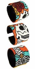 "BR600 Day of The Dead Skull Wrap Cuff Czech Glass Seed Beads 7.5"" Guatemala New"