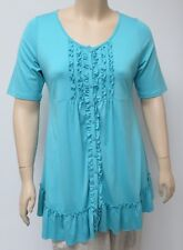 YOEK,HOLLAND,THEIR SIZE LARGE, TURQUOISE,VISCOSE BLEND, FRONT EMBELLISHED TUNIC