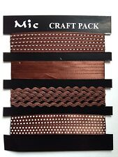 Job lot 4 Satin Ribbons & Trimmings For Card Making Sewing Craft 4 x 1m BROWN
