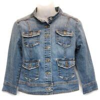 Gloria Vanderbilt Womens Sz PS Jean Jacket Denim Button Front Pockets Petite