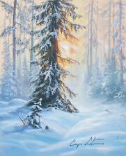 J. Litvinas Original Oil Painting 'WINTER FOREST' 8 by 10 inches