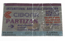 old ticket Basketball Euroleague Cibona Zagreb Croatia Partizan Beograd Serbia