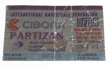 old ticket Basketball Euroleague Cibona Zagreb Croatia Partizan Beograd Serbia