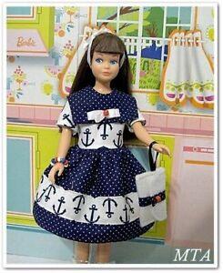 NAUTICAL NAVY~Anchors~Dots~4pc Dress~Purse~Bracelet~Fit Vintage Skipper~Handmade