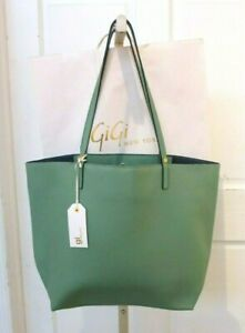 GI New York Leather Hampton Tote Unlined New w Tags Azure Green Blue