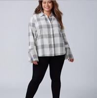 Lane Bryant Plus 20-22-24 Bell Sleeve Button Sown Shirt Gray Plaid Top 2x 3x