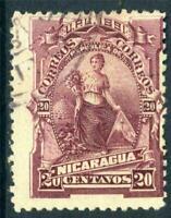 Nicaragua 1891 Seebeck Goddess of Plenty 20¢ VFU D235 ⭐⭐⭐⭐⭐⭐