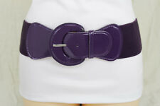 Women Fashion Belt Hip High Waist Elastic Band Faux Leather Dark Purple XS S M