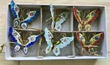More details for  past times enamel cloisonné butterflies set of 6 tree hangings post free