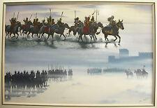 Jean Torton dit Jeronaton Les cavaliers Mongols Les Huns Gouache Paint  horsemen