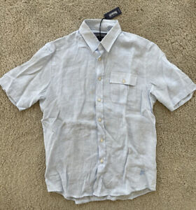 AUTHENTIC Vilebrequin  Short Sleeve LINEN Shirt - MEN - S - BLUE & WHITE - SMALL