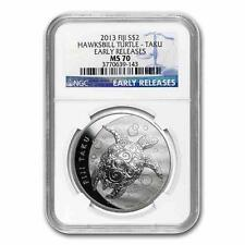 New 2013 Fiji Silver Hawksbill Turtle Taku 1oz Early Release NGC MS70 Graded