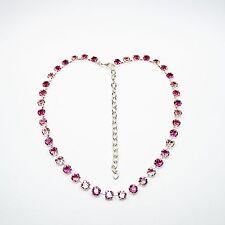 Damen Kette Collier Tennis 925 Silber Versilbert Swarovski Kristalle Pink Rosa