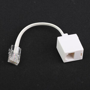 White Phone Telephone Line Flash Cable Cord Extension Wire Jack RJ45 To RJ11