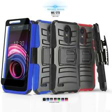for LG RISIO 3 (Cricket), [Refined Series] Phone Case & Holster +Tempered Glass