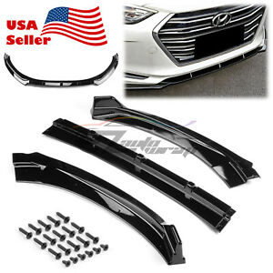3PCS Gloss Black Front Bumper Lip Spoiler Splitters for Hyundai Elantra 2016-20