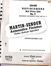 ORIGINAL MARTIN SENOUR AUTOMOTIVE REFINISHERS NET PRICE LIST NO. 7 PRINTED 1939