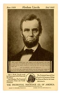 Advertising -PRESIDENT ABRAHAM LINCOLN-PURDENTIAL INSURANCE AD- c1920s Postcard