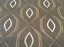 Fabricut Embroidered Geometric Ogee Upholstery Fabric- Gleva / Platinum 1.60 yd