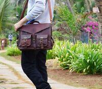 Vintage Brown Leather Messenger Bag Shoulder Laptop Bag Briefcase Men's Genuine