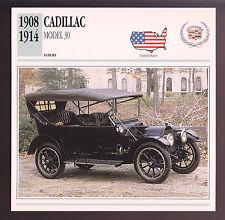 1908-1914 Cadillac Model 30 (1912) Car Photo Spec Sheet Info Stat ATLAS CARD