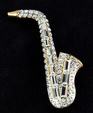 NEW SAXOPHONE GENUINE AUSTRIAN CLEAR CRYSTALS FULLY COVERED PIN BROOCH