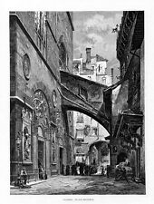 Stampa antica FIRENZE Chiesa di San Michele 1880 Old print Florence Engraving