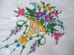 VINTAGE TABLECLOTH-HAND EMBROIDERED VASES of FLOWERS-LINEN