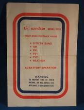 Windsor 2192 Multi Band Portable Radio Instruction Manual Vtg