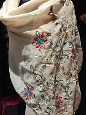Vintage Style Beige Sheer Pashmina Embroidered Flower Scarf Wrap Shawl