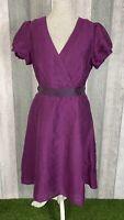 Betty Jackson Black Purple Linen Blend Pocket Faux Wrap A-Line Dress Size UK 14