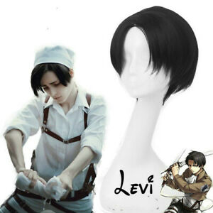 Attack on Titan Levi Wig Fake Hair Cosplay Prop FREE P&P+Free Wig Cap
