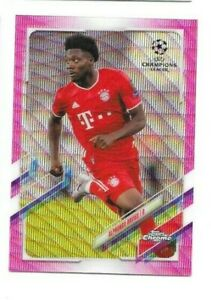 ALPHONSO DAVIES 2021 TOPPS CHROME UEFA CHAMPIONS LEAGUE  PINK WAVE REFRACTOR