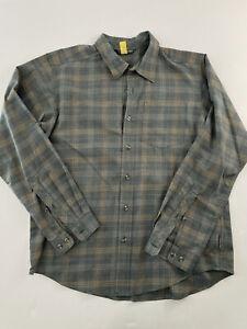 Exofficio Travel Shirt Polyester Hiking Long Sleeves Hidden Zipper Pocket Sz L