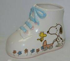 Peanuts Characters Snoopy Woodstock Baby Shoe Planter, 1965
