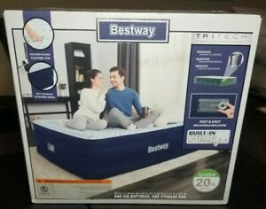 "NEW Bestway Queen Air Matress with Built in Pump 20"" High"