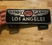 Los Angeles License Plate Topper Vintage Style Solid Metal Patina Ruby Center NR
