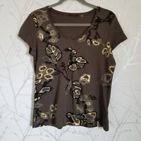 Tahari Women's Brown Top w/ Gold Leaf Print | Size L | Cap Sleeves | Cotton