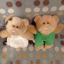"""Lot 2 Retired Meyer Plush Bears Pair 6"""" Overalls Apron Pinafore 1996 Ornaments"""