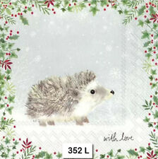 TWO (2) Paper Luncheon Napkins for Decoupage, CHRISTMAS, HEDGEHOG, ANIMAL
