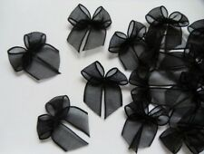 "1"" (W) Black Organza Ribbon Bows Appliques DIY-50 pcs (R0102B)"