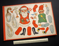 1930s/40s Vintage Cut-Out Card Sheet Father Christmas Gnome & Goose Puppets