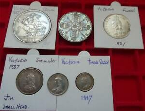 Part set 1887 Jubilee coins Crown to threepence (no halfcrown) higher grades