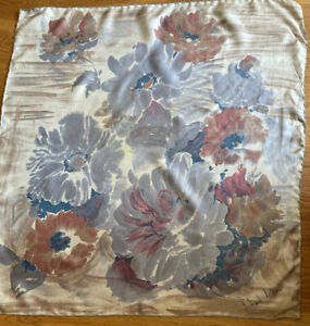Beautiful Vintage RICHARD ALLAN Soft Flowers Print Silk Scarf