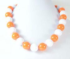 Ladies Bianco Arancione dichiarazione Palla Girocollo Halloween Zucca colori (b5)
