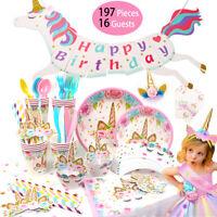 Unicorn Birthday Party Supplies Tableware Banner Children Baby Shower Decor Gift